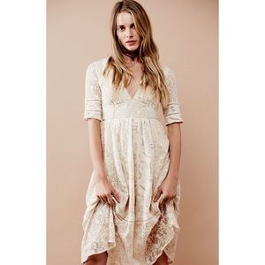 Free People Laurel lace & crocheted Dress in Cream